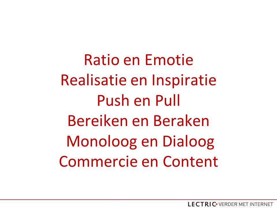 Ratio en Emotie Realisatie en Inspiratie Push en Pull Bereiken en Beraken Monoloog en Dialoog Commercie en Content