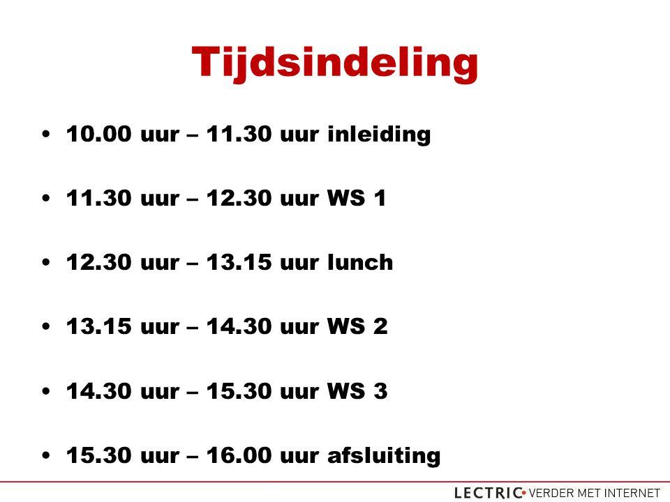Tijdsindeling 10.00 uur – 11.30 uur inleiding 11.30 uur – 12.30 uur WS 1 12.30 uur – 13.15 uur lunch 13.15 uur – 14.30 uur WS 2 14.30 uur – 15.30 uur WS 3 15.30 uur – 16.00 uur afsluiting