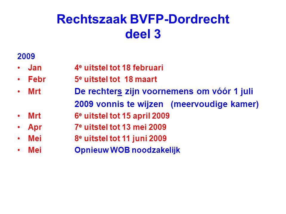 Rechtszaak BVFP-Dordrecht deel 3 2009 Jan4 e uitstel tot 18 februari Febr5 e uitstel tot 18 maart Mrt De rechters zijn voornemens om vóór 1 juli 2009