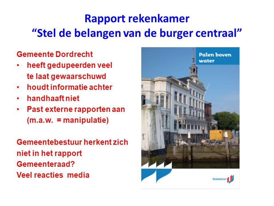 """Rapport rekenkamer """"Stel de belangen van de burger centraal"""" Gemeente Dordrecht heeft gedupeerden veel te laat gewaarschuwd houdt informatie achter ha"""