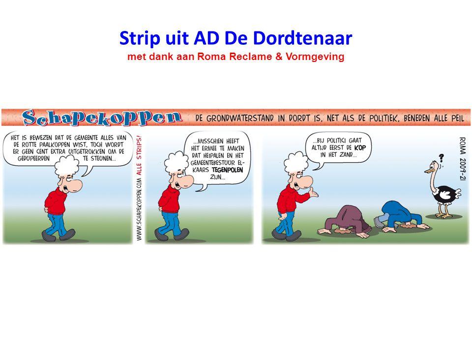 Strip uit AD De Dordtenaar met dank aan Roma Reclame & Vormgeving