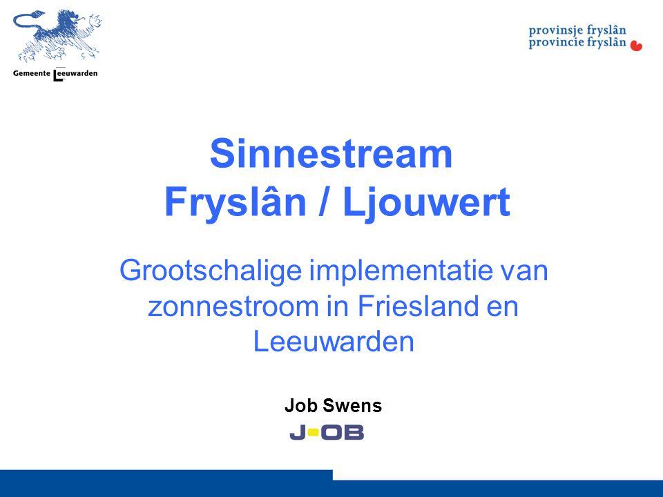 Bijzondere projecten 1.SDE: schatting: 2,5 MW (1/7-de) - samenwerking Leeuwarden, Tytsjerksteradiel, Menaldumadiel en Het Bildt - bevolkingsonderzoek - campagne (radio en TV spots / advertenties / website) 2.Sinnestream op scholen (Rendo / Awizon): 130 scholen, 0,5 – 1 MW - geen investering, geen extra kosten - na 15 jaar gratis stroom - gekoppeld aan onderwijspakket (provincie) 3.Beheersvereniging Doorzon van Wilhelminastate - gezamenlijk systeem van 15 kW op dak van Vereniging van Eigenaren (VvE) - risico van onvoldoende salderingsmogelijkheden - privé saldering door zelflevering via het net (zonder energiebelasting en btw) - Gemeentegarantie voor verlies door conflict met E-bedrijf of fiscus