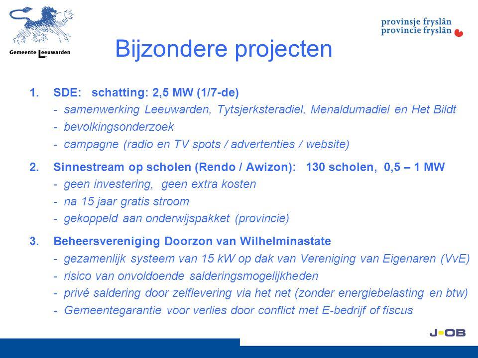 Bijzondere projecten 1.SDE: schatting: 2,5 MW (1/7-de) - samenwerking Leeuwarden, Tytsjerksteradiel, Menaldumadiel en Het Bildt - bevolkingsonderzoek