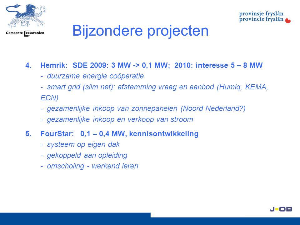Bijzondere projecten 4.Hemrik: SDE 2009: 3 MW -> 0,1 MW; 2010: interesse 5 – 8 MW - duurzame energie coöperatie - smart grid (slim net): afstemming vr