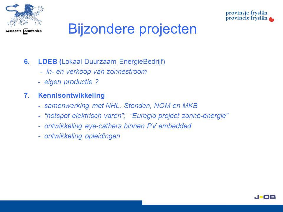 Bijzondere projecten 6.LDEB (Lokaal Duurzaam EnergieBedrijf) - in- en verkoop van zonnestroom - eigen productie ? 7.Kennisontwikkeling - samenwerking