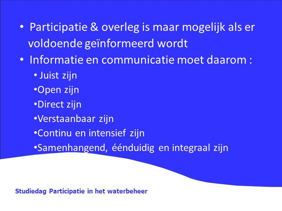 Studiedag Participatie in het waterbeheer Participatie & overleg is maar mogelijk als er voldoende geïnformeerd wordt Informatie en communicatie moet