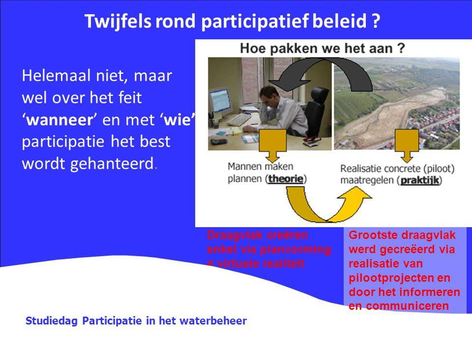 Studiedag Participatie in het waterbeheer Twijfels rond participatief beleid ? Helemaal niet, maar wel over het feit 'wanneer' en met 'wie' participat