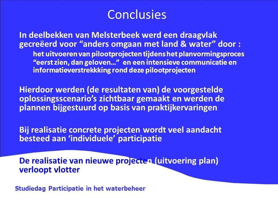 """Studiedag Participatie in het waterbeheer In deelbekken van Melsterbeek werd een draagvlak gecreëerd voor """"anders omgaan met land & water"""" door : het"""
