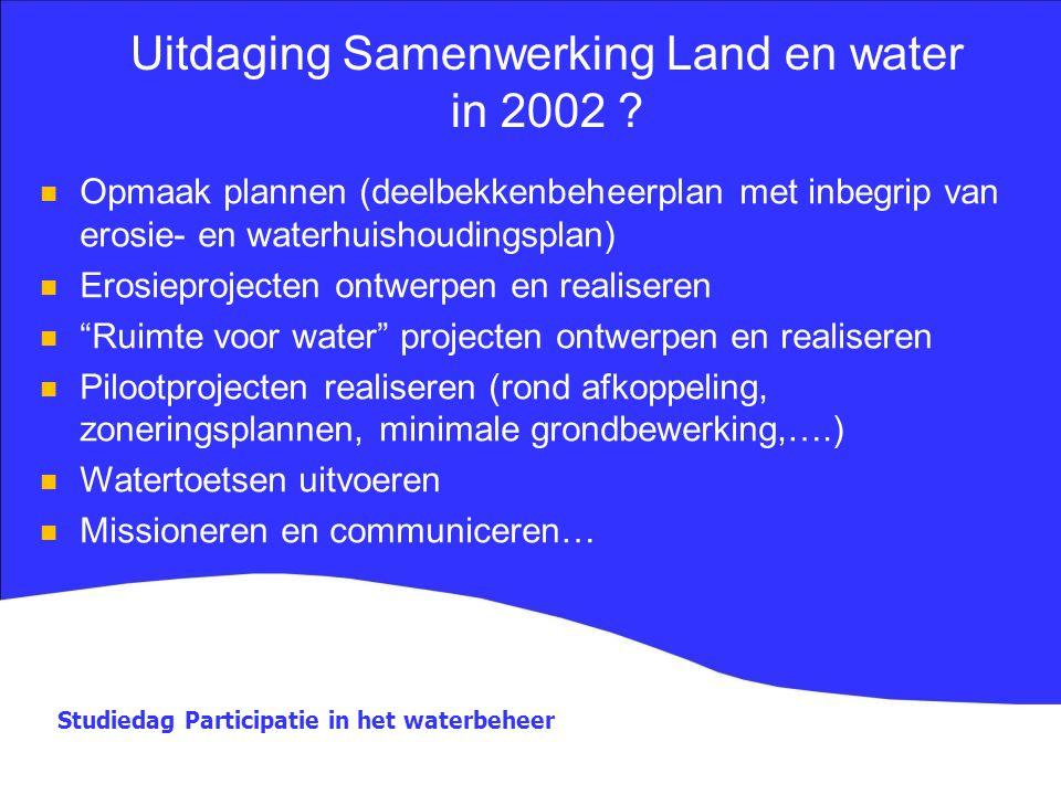 Studiedag Participatie in het waterbeheer Uitdaging Samenwerking Land en water in 2002 ? Opmaak plannen (deelbekkenbeheerplan met inbegrip van erosie-