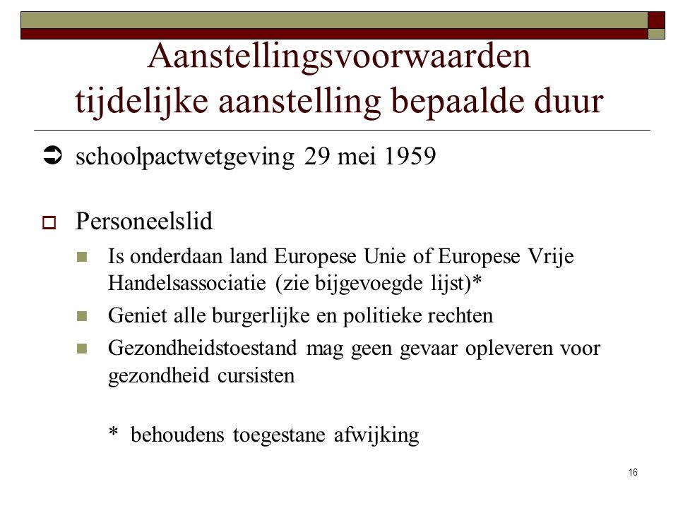 16 Aanstellingsvoorwaarden tijdelijke aanstelling bepaalde duur  schoolpactwetgeving 29 mei 1959  Personeelslid Is onderdaan land Europese Unie of E