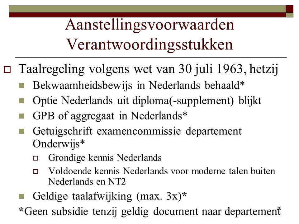 20 Aanstellingsvoorwaarden Verantwoordingsstukken  Taalregeling volgens wet van 30 juli 1963, hetzij Bekwaamheidsbewijs in Nederlands behaald* Optie