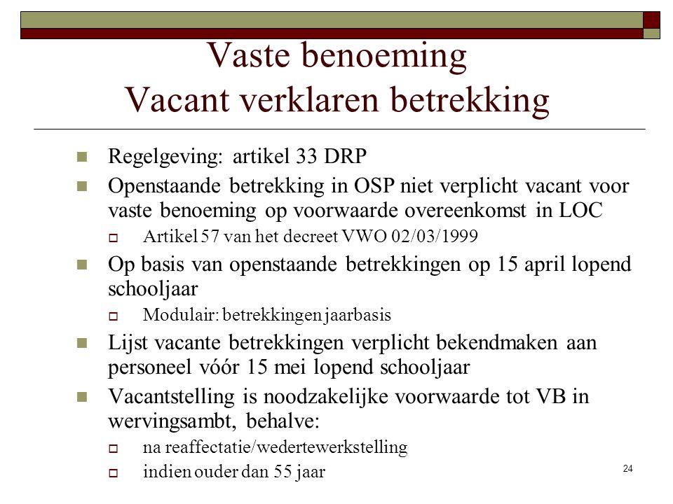 24 Vaste benoeming Vacant verklaren betrekking Regelgeving: artikel 33 DRP Openstaande betrekking in OSP niet verplicht vacant voor vaste benoeming op