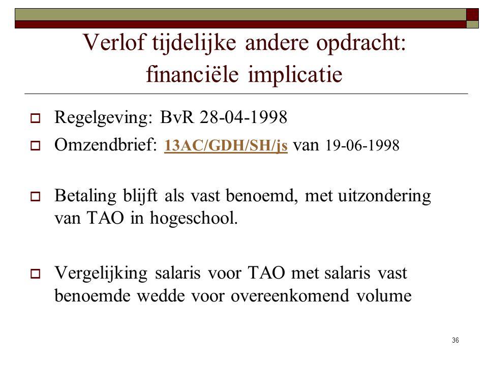 36 Verlof tijdelijke andere opdracht: financiële implicatie  Regelgeving: BvR 28-04-1998  Omzendbrief: 13AC/GDH/SH/js van 19-06-1998 13AC/GDH/SH/js