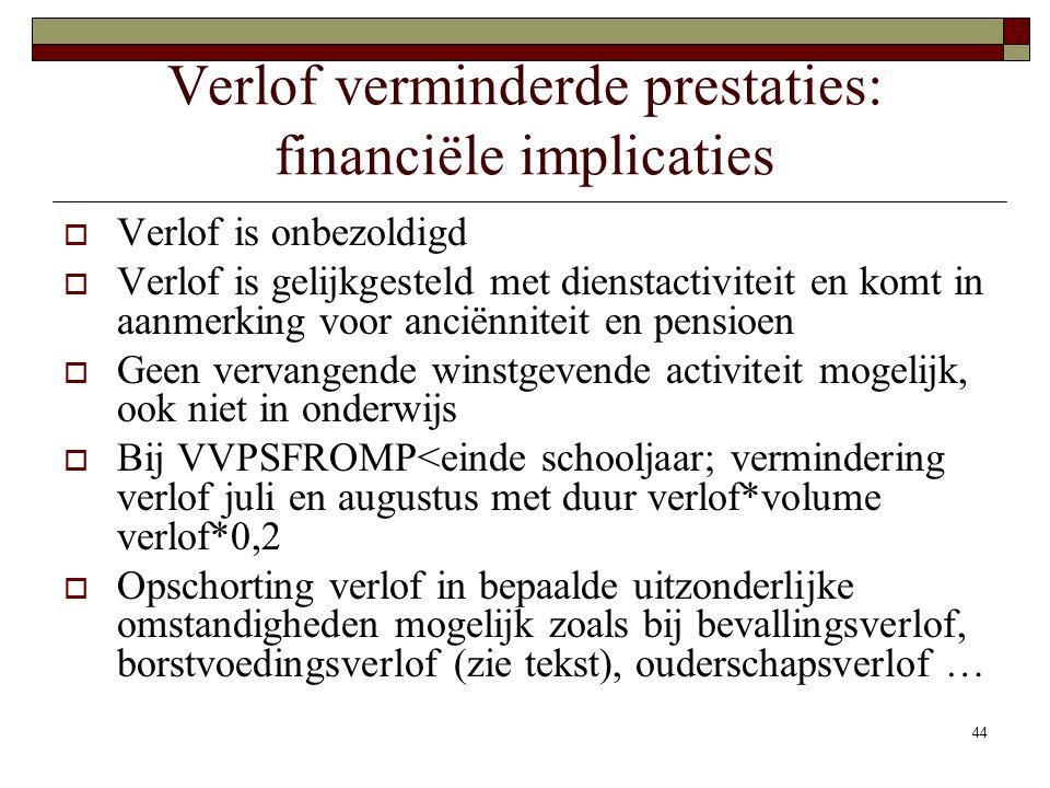 44 Verlof verminderde prestaties: financiële implicaties  Verlof is onbezoldigd  Verlof is gelijkgesteld met dienstactiviteit en komt in aanmerking
