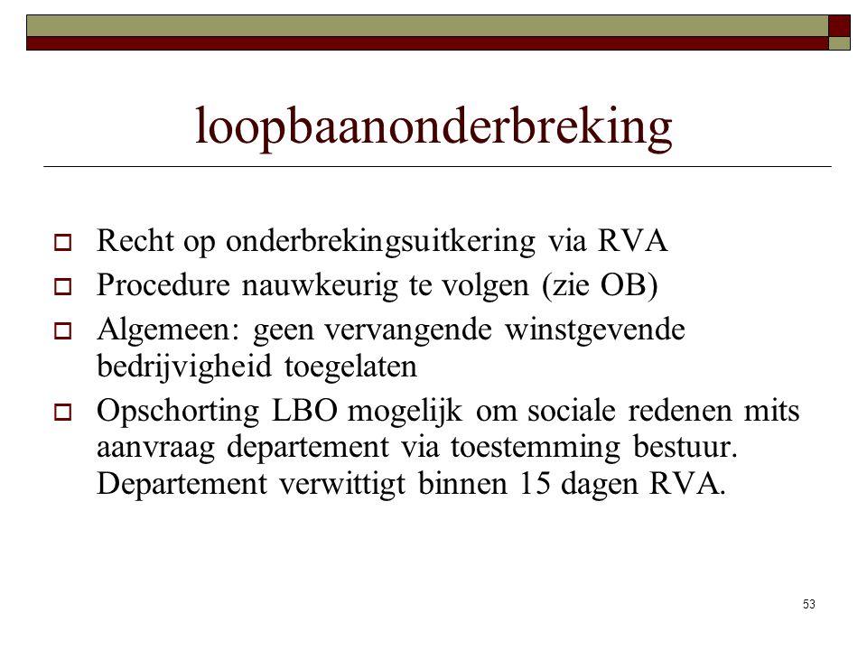 53 loopbaanonderbreking  Recht op onderbrekingsuitkering via RVA  Procedure nauwkeurig te volgen (zie OB)  Algemeen: geen vervangende winstgevende