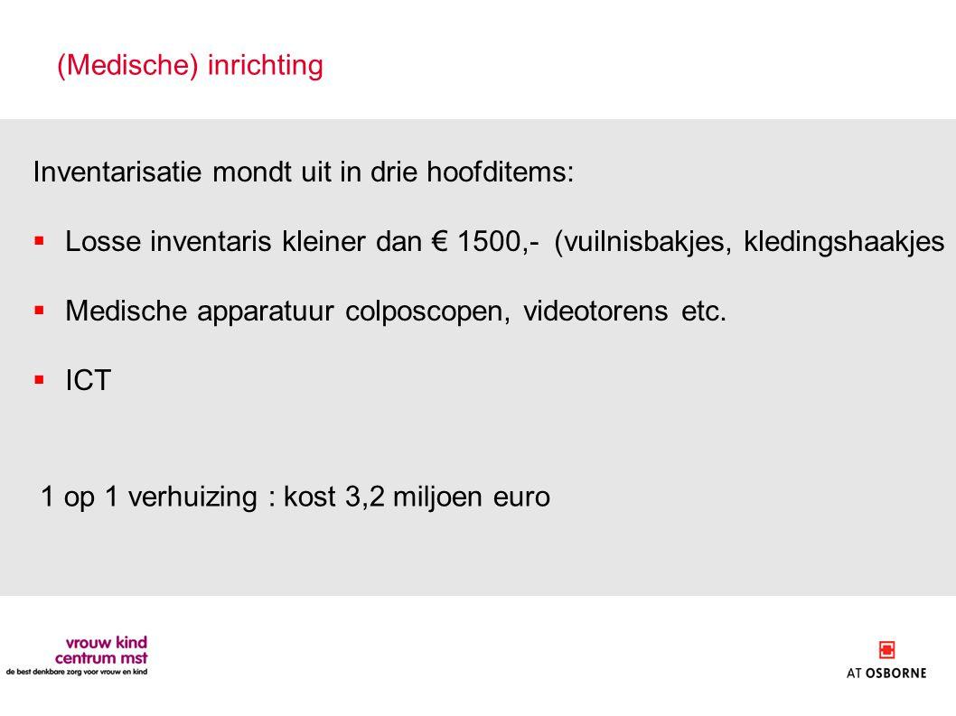 (Medische) inrichting Inventarisatie mondt uit in drie hoofditems:  Losse inventaris kleiner dan € 1500,- (vuilnisbakjes, kledingshaakjes  Medische