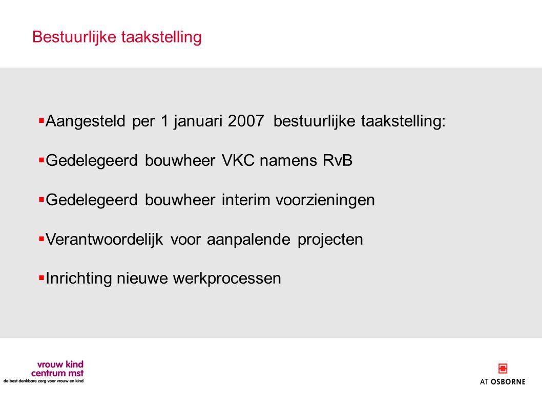 Bestuurlijke taakstelling  Aangesteld per 1 januari 2007 bestuurlijke taakstelling:  Gedelegeerd bouwheer VKC namens RvB  Gedelegeerd bouwheer inte