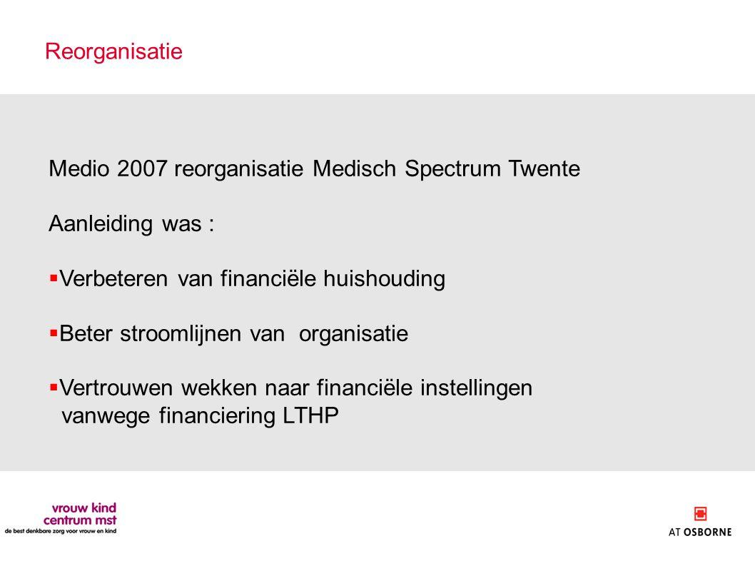 Reorganisatie Medio 2007 reorganisatie Medisch Spectrum Twente Aanleiding was :  Verbeteren van financiële huishouding  Beter stroomlijnen van organisatie  Vertrouwen wekken naar financiële instellingen vanwege financiering LTHP