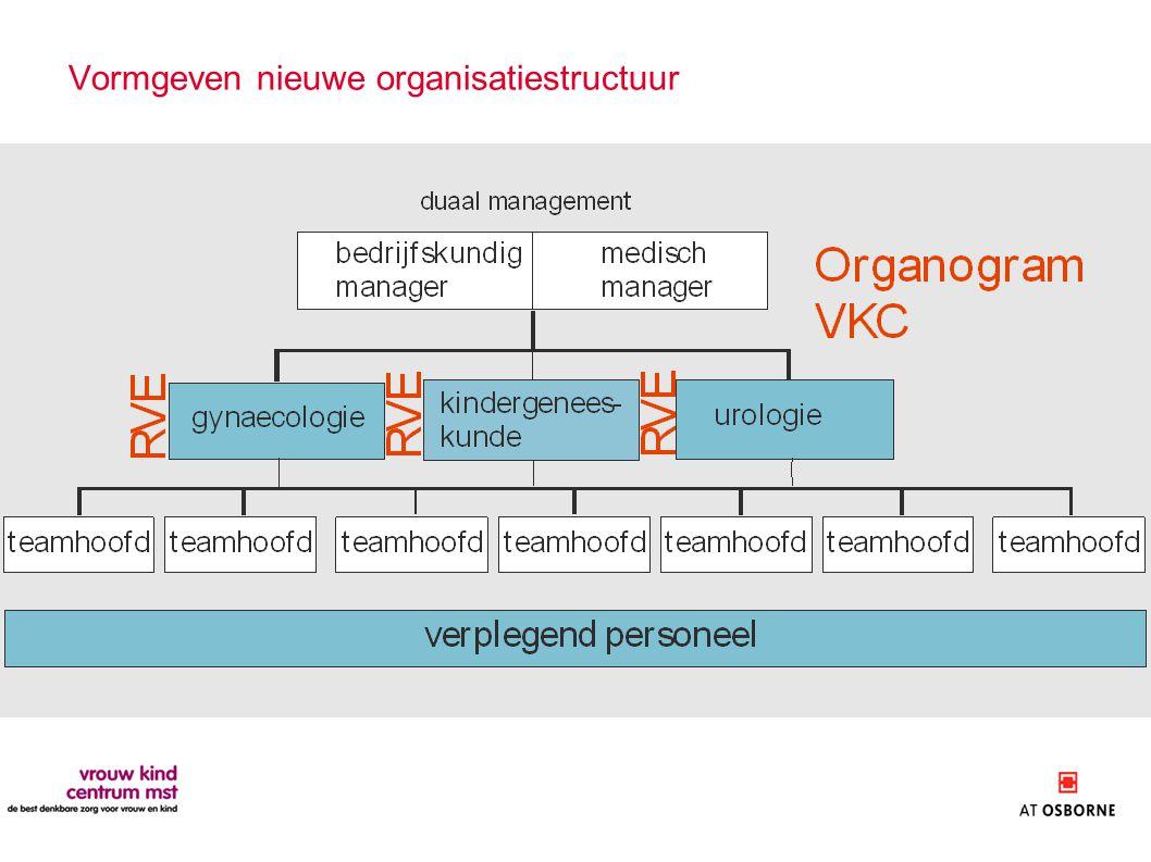 Vormgeven nieuwe organisatiestructuur