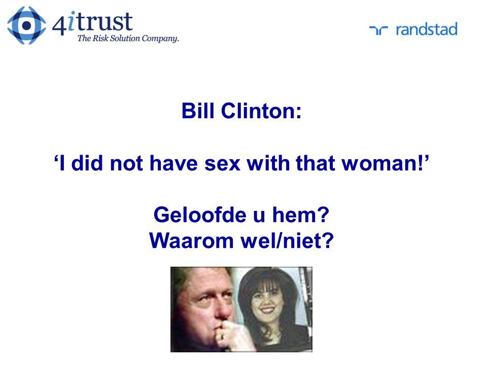 Bill Clinton: 'I did not have sex with that woman!' Geloofde u hem? Waarom wel/niet?