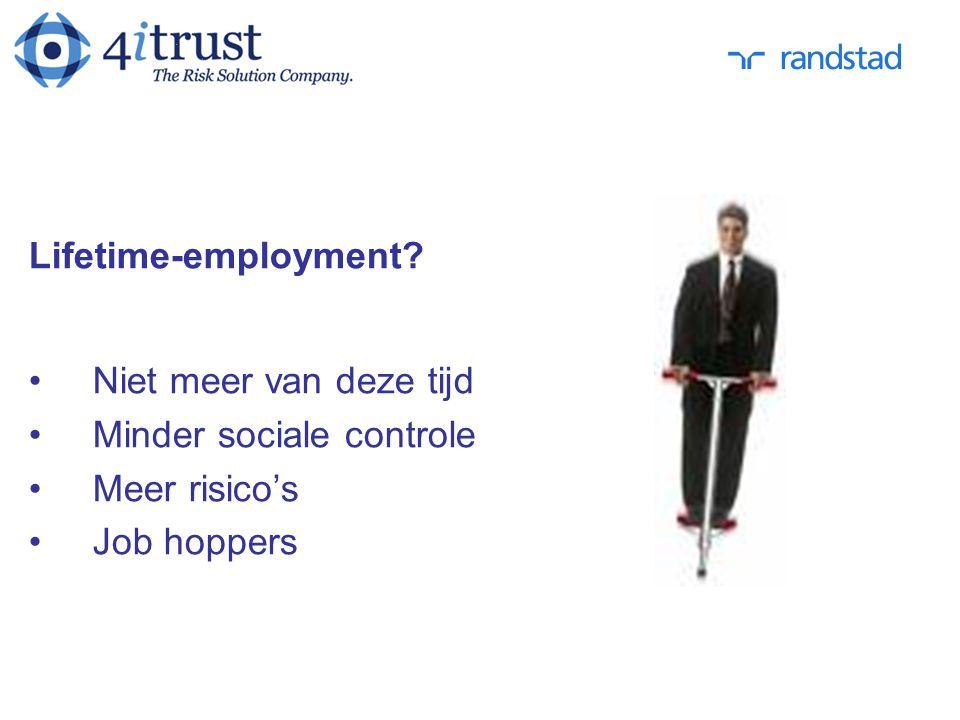 Lifetime-employment? Niet meer van deze tijd Minder sociale controle Meer risico's Job hoppers