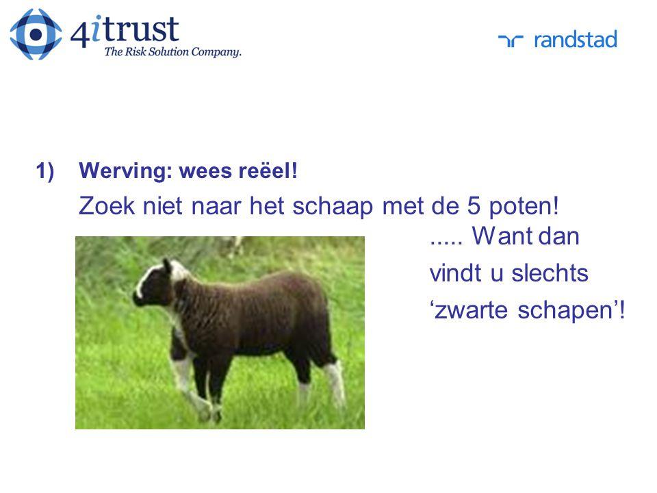 1)Werving: wees reëel! Zoek niet naar het schaap met de 5 poten!..... Want dan vindt u slechts 'zwarte schapen'!