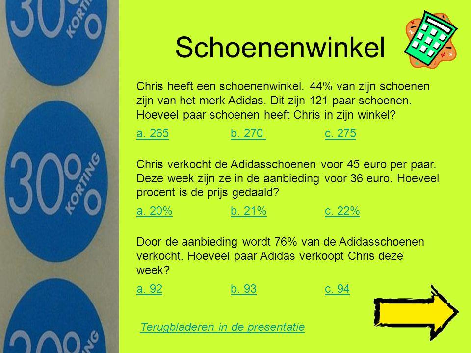 Inkoopprijs computers Terugbladeren in de presentatie Een verkoper koopt computers in voor 730 euro. Hij wil 35% winst maken op deze computers. Wat wo