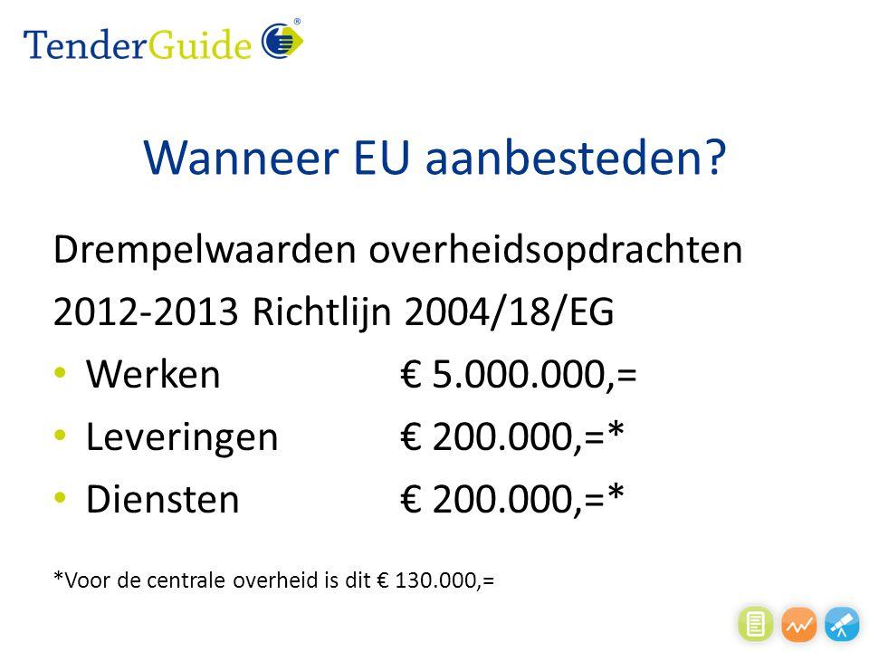 Wanneer EU aanbesteden? Drempelwaarden overheidsopdrachten 2012-2013 Richtlijn 2004/18/EG Werken € 5.000.000,= Leveringen€ 200.000,=* Diensten€ 200.00