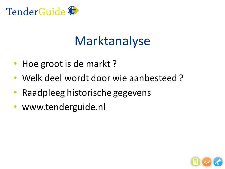 Marktanalyse Hoe groot is de markt ? Welk deel wordt door wie aanbesteed ? Raadpleeg historische gegevens www.tenderguide.nl