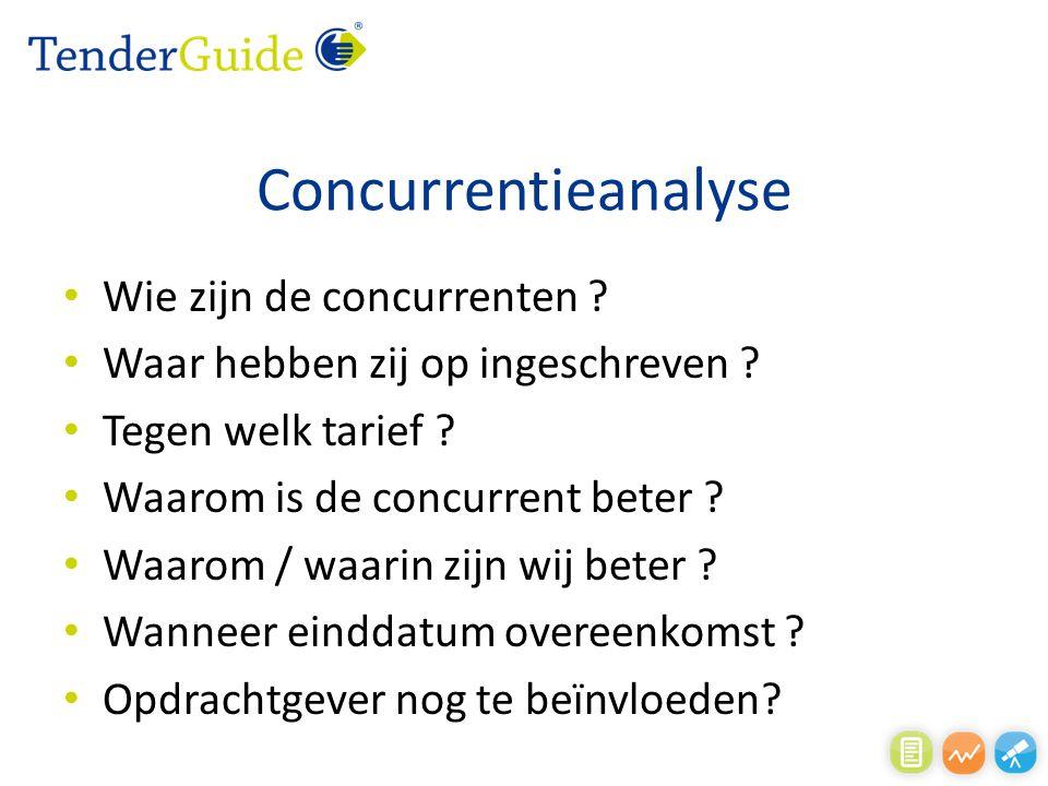 Concurrentieanalyse Wie zijn de concurrenten ? Waar hebben zij op ingeschreven ? Tegen welk tarief ? Waarom is de concurrent beter ? Waarom / waarin z