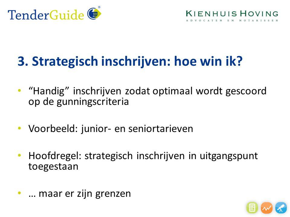 """3. Strategisch inschrijven: hoe win ik? """"Handig"""" inschrijven zodat optimaal wordt gescoord op de gunningscriteria Voorbeeld: junior- en seniortarieven"""