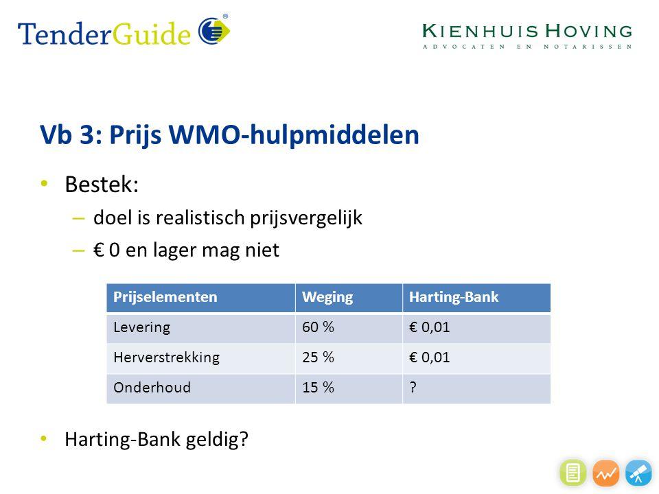 Vb 3: Prijs WMO-hulpmiddelen Bestek: – doel is realistisch prijsvergelijk – € 0 en lager mag niet Harting-Bank geldig? PrijselementenWegingHarting-Ban
