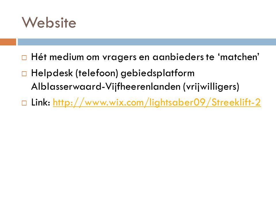 Website  Hét medium om vragers en aanbieders te 'matchen'  Helpdesk (telefoon) gebiedsplatform Alblasserwaard-Vijfheerenlanden (vrijwilligers)  Link: http://www.wix.com/lightsaber09/Streeklift-2http://www.wix.com/lightsaber09/Streeklift-2