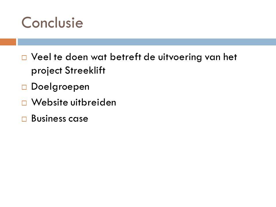 Conclusie  Veel te doen wat betreft de uitvoering van het project Streeklift  Doelgroepen  Website uitbreiden  Business case