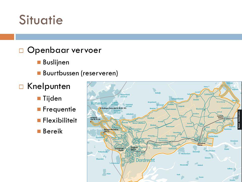 Situatie  Openbaar vervoer Buslijnen Buurtbussen (reserveren)  Knelpunten Tijden Frequentie Flexibiliteit Bereik