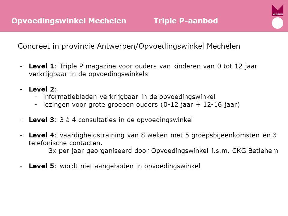 Concreet in provincie Antwerpen/Opvoedingswinkel Mechelen Opvoedingswinkel Mechelen Triple P-aanbod -Level 1: Triple P magazine voor ouders van kinder