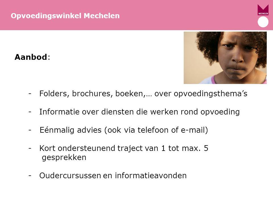 Meer info: Opvoedingswinkel/opvoedingsondersteuning www.mechelen.be/opvoedingswinkel www.groeimee.be: Vlaamse website opvoedingsondersteuning www.groeimee.be www.expoo.be: Expertisecentrum Opvoedingsondersteuning www.expoo.be Triple P www.triplep.be www.triplepmagazine.be Opvoedingswinkel Mechelen Triple P