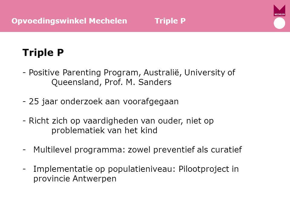 Opvoedingswinkel Mechelen Triple P Triple P in Vlaanderen -Implementatie op populatieniveau: Pilootproject in provincie Antwerpen -Triple P: 0-12 jaar -Triple P: 12-16 jaar -454 hulpverleners uit 241 organisaties in de provincie Antwerpen (CLB, CAW, opvoedingswinkels, kinderopvang, CGG, psychiatrie,…) -220 regioverpleegkundigen en gezinsondersteuners van Kind en Gezin