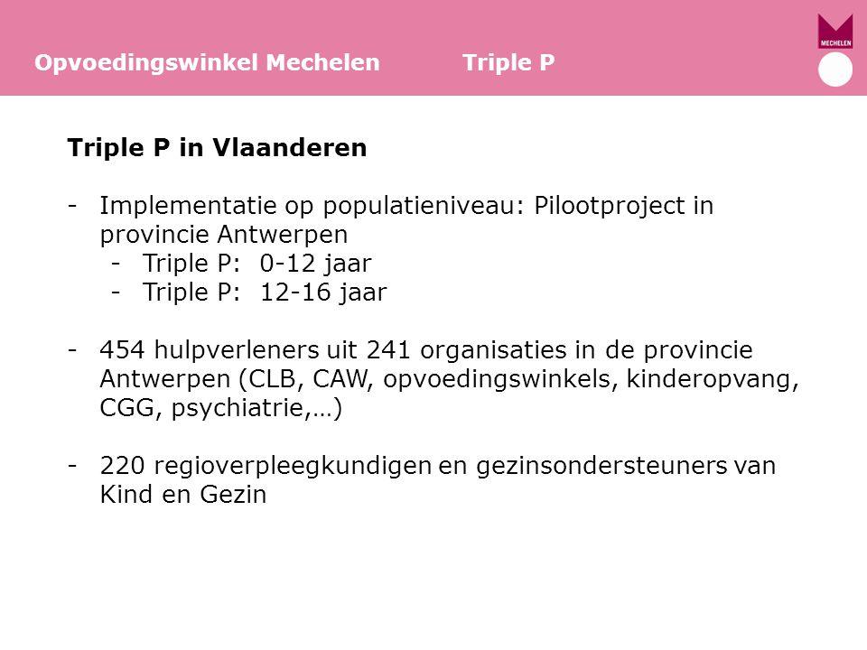 Opvoedingswinkel Mechelen Triple P Triple P in Vlaanderen -Implementatie op populatieniveau: Pilootproject in provincie Antwerpen -Triple P: 0-12 jaar