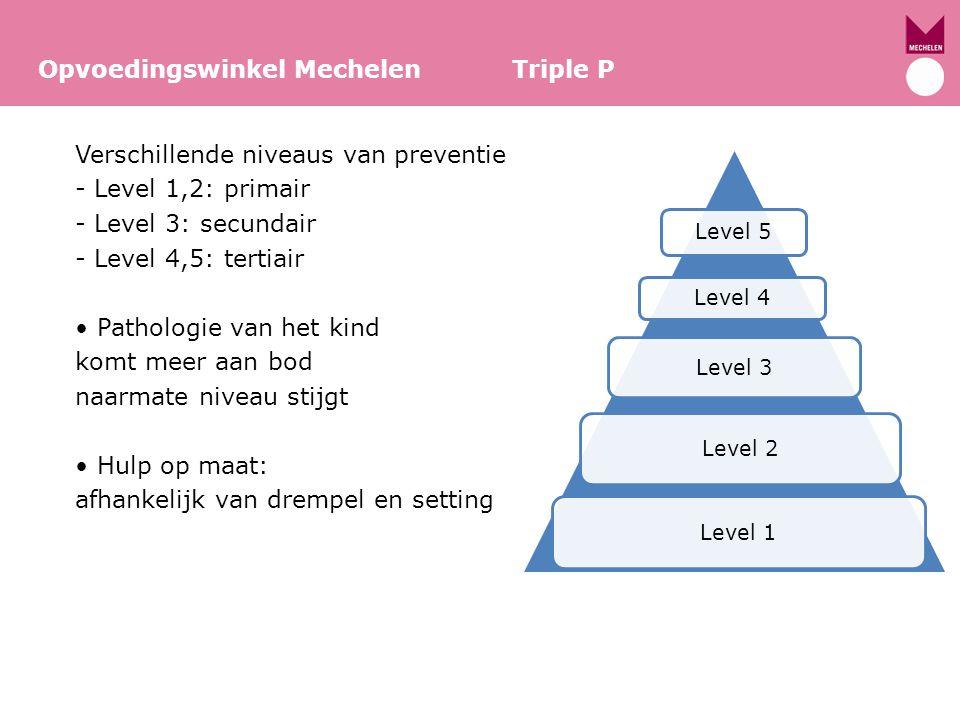 Opvoedingswinkel Mechelen Triple P-aanbod - Level 1: Info over hoe ontwikkelingsproblemen en kleine gedragsproblemen kunnen opgelost worden: voor alle ouders - via mediacampagnes op TV, radio en in pers - Level 2: specifiek advies over een afzonderlijk probleem bij kind: voor ouders met vragen over gedrag en ontwikkeling - via informatiebladen en 1 korte consultatie - inforeeks van 3 lezingen voor grote groep ouders - Level 3: kort therapie-programma om ouders aan te leren hoe met moeilijkheden bij kinderen om te gaan: voor ouders die nood hebben aan actieve vaardigheidstraining - via 3 à 4 korte consultaties - Level 4: Intensief programma dat focus heeft op ouder-kind interacties en opvoedingsvaardigheden bij een breed gamma van problemen: voor ouders van kinderen met meer ernstige problematieken - via vaardigheidstraining in groep of individueel - Level 5: Level 5: Intensief programma dat o.a.