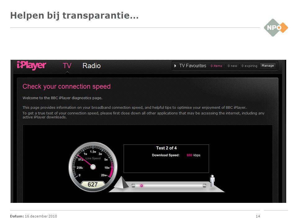 Datum: 16 december 201014 Helpen bij transparantie…