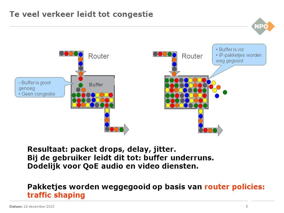 Datum: 16 december 20105 Te veel verkeer leidt tot congestie Resultaat: packet drops, delay, jitter. Bij de gebruiker leidt dit tot: buffer underruns.