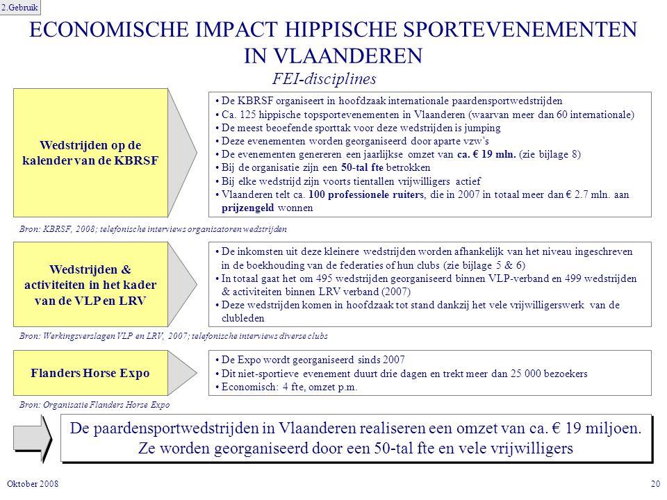 20Oktober 2008 ECONOMISCHE IMPACT HIPPISCHE SPORTEVENEMENTEN IN VLAANDEREN De paardensportwedstrijden in Vlaanderen realiseren een omzet van ca.