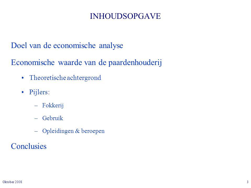 3Oktober 2008 INHOUDSOPGAVE Doel van de economische analyse Economische waarde van de paardenhouderij Theoretische achtergrond Pijlers: –Fokkerij –Gebruik –Opleidingen & beroepen Conclusies