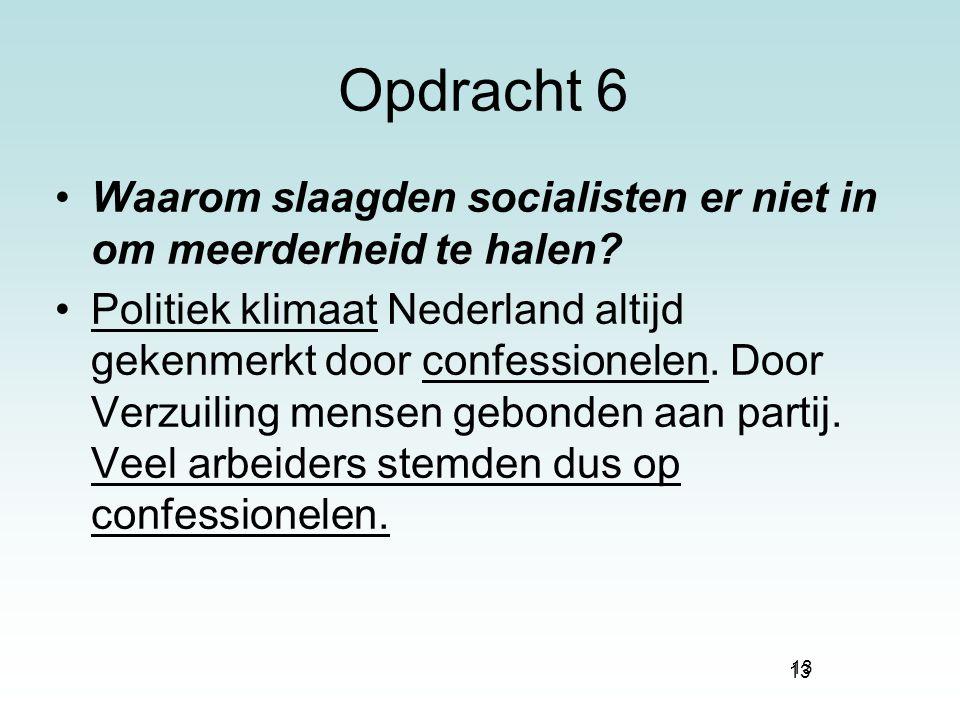 13 Opdracht 6 Waarom slaagden socialisten er niet in om meerderheid te halen? Politiek klimaat Nederland altijd gekenmerkt door confessionelen. Door V