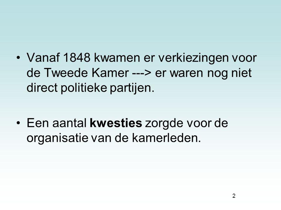2 Vanaf 1848 kwamen er verkiezingen voor de Tweede Kamer ---> er waren nog niet direct politieke partijen. Een aantal kwesties zorgde voor de organisa
