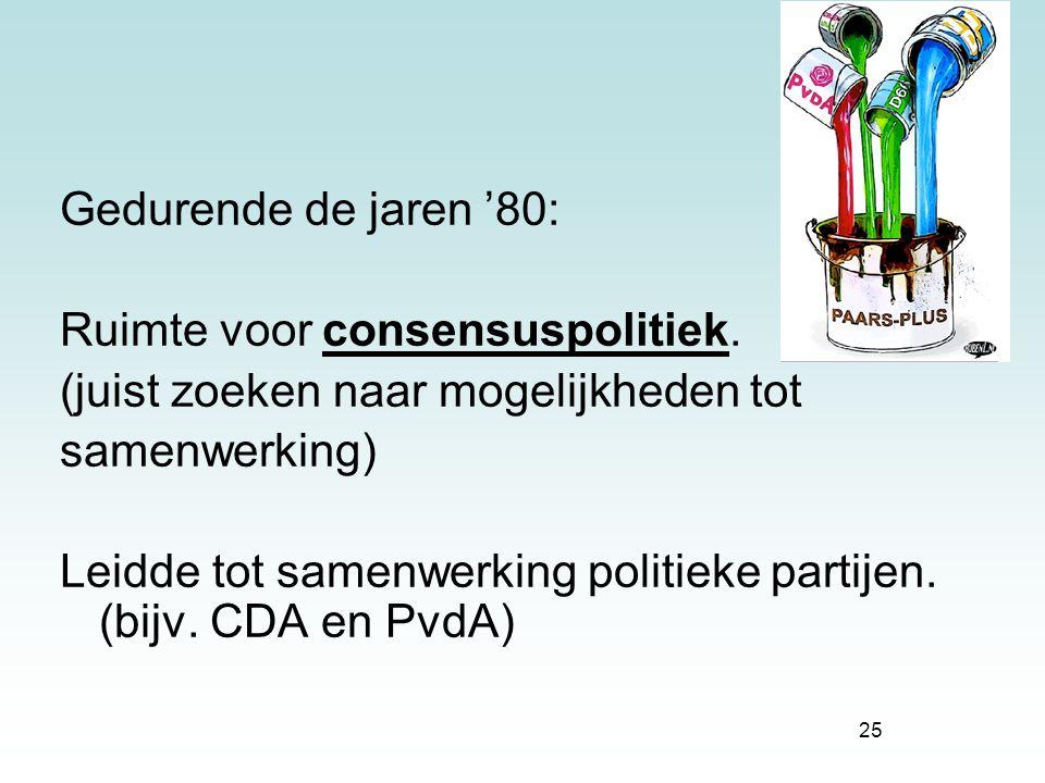 25 Gedurende de jaren '80: Ruimte voor consensuspolitiek. (juist zoeken naar mogelijkheden tot samenwerking) Leidde tot samenwerking politieke partije