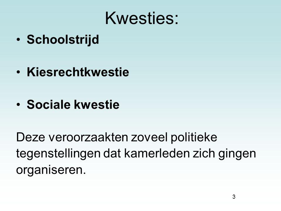 3 Kwesties: Schoolstrijd Kiesrechtkwestie Sociale kwestie Deze veroorzaakten zoveel politieke tegenstellingen dat kamerleden zich gingen organiseren.