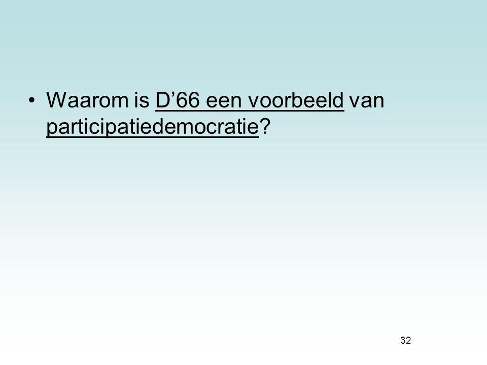 32 Waarom is D'66 een voorbeeld van participatiedemocratie?