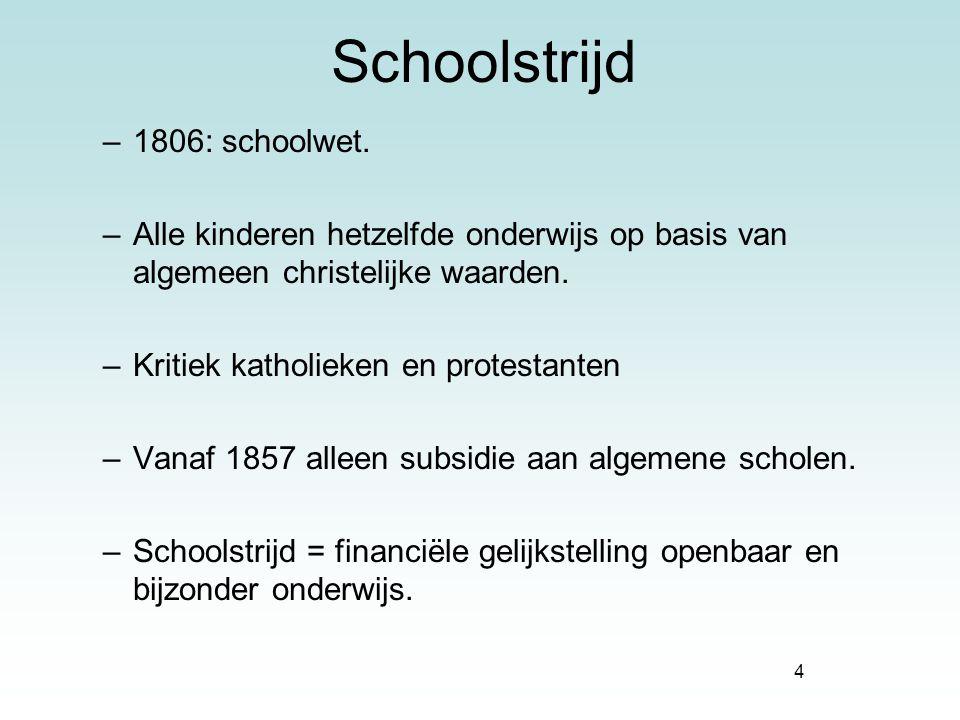 4 Schoolstrijd –1806: schoolwet. –Alle kinderen hetzelfde onderwijs op basis van algemeen christelijke waarden. –Kritiek katholieken en protestanten –